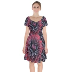Flower Fractals Pattern Design Creative Short Sleeve Bardot Dress