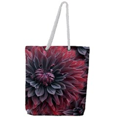 Flower Fractals Pattern Design Creative Full Print Rope Handle Tote (large)