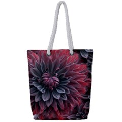 Flower Fractals Pattern Design Creative Full Print Rope Handle Tote (small)