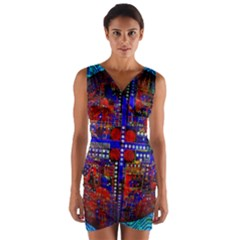 Board Interfaces Digital Global Wrap Front Bodycon Dress