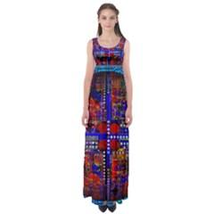 Board Interfaces Digital Global Empire Waist Maxi Dress