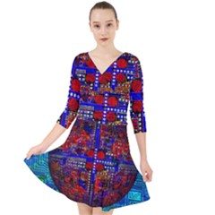 Board Interfaces Digital Global Quarter Sleeve Front Wrap Dress