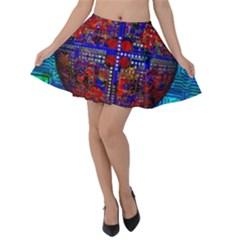 Board Interfaces Digital Global Velvet Skater Skirt