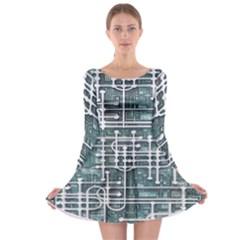 Board Circuit Control Center Long Sleeve Skater Dress