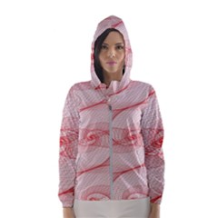 Red Pattern Abstract Background Hooded Wind Breaker (women)