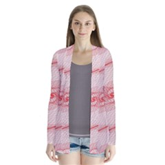 Red Pattern Abstract Background Drape Collar Cardigan