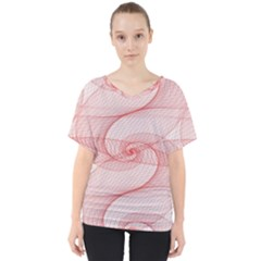 Red Pattern Abstract Background V Neck Dolman Drape Top