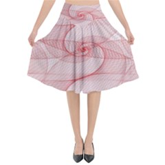 Red Pattern Abstract Background Flared Midi Skirt