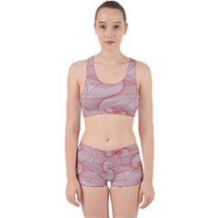 Red Pattern Abstract Background Work It Out Sports Bra Set