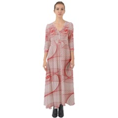 Red Pattern Abstract Background Button Up Boho Maxi Dress