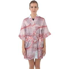 Red Pattern Abstract Background Quarter Sleeve Kimono Robe