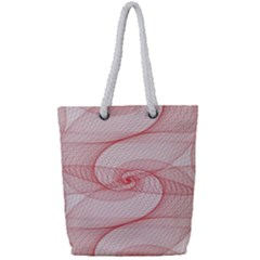Red Pattern Abstract Background Full Print Rope Handle Tote (small)
