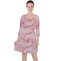 Red Pattern Abstract Background Ruffle Dress
