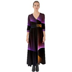 Star Graphic Rays Movement Pattern Button Up Boho Maxi Dress