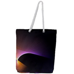 Star Graphic Rays Movement Pattern Full Print Rope Handle Tote (large)