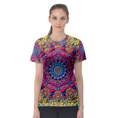 Background Fractals Surreal Design Women s Sport Mesh Tee