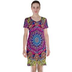 Background Fractals Surreal Design Short Sleeve Nightdress