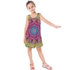 Background Fractals Surreal Design Kids  Sleeveless Dress