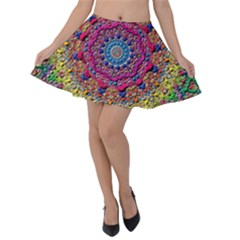Background Fractals Surreal Design Velvet Skater Skirt