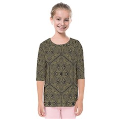 Texture Background Mandala Kids  Quarter Sleeve Raglan Tee