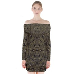 Texture Background Mandala Long Sleeve Off Shoulder Dress