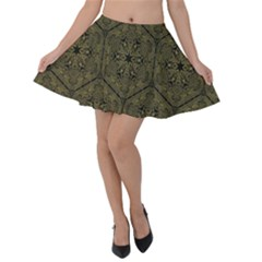 Texture Background Mandala Velvet Skater Skirt