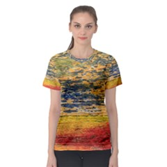 The Framework Drawing Color Texture Women s Sport Mesh Tee