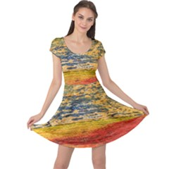 The Framework Drawing Color Texture Cap Sleeve Dress