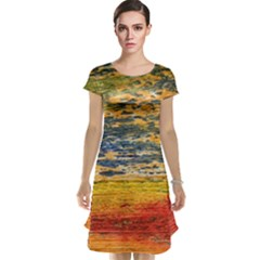 The Framework Drawing Color Texture Cap Sleeve Nightdress