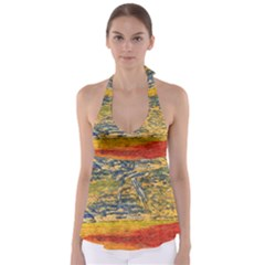 The Framework Drawing Color Texture Babydoll Tankini Top