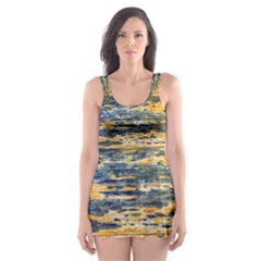 The Framework Drawing Color Texture Skater Dress Swimsuit