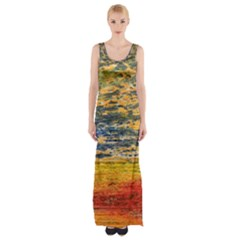 The Framework Drawing Color Texture Maxi Thigh Split Dress