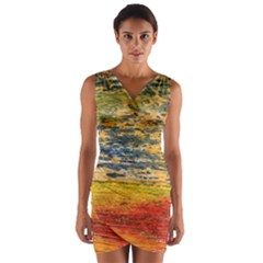 The Framework Drawing Color Texture Wrap Front Bodycon Dress