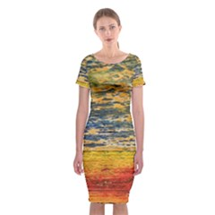 The Framework Drawing Color Texture Classic Short Sleeve Midi Dress