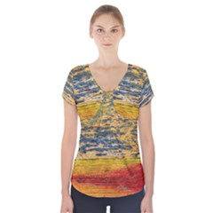 The Framework Drawing Color Texture Short Sleeve Front Detail Top