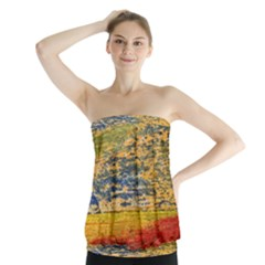 The Framework Drawing Color Texture Strapless Top