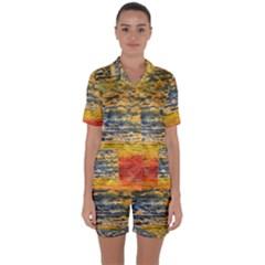 The Framework Drawing Color Texture Satin Short Sleeve Pyjamas Set