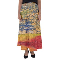 The Framework Drawing Color Texture Flared Maxi Skirt