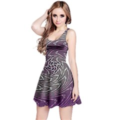 Graphic Abstract Lines Wave Art Reversible Sleeveless Dress