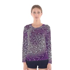 Graphic Abstract Lines Wave Art Women s Long Sleeve Tee
