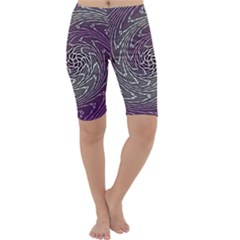 Graphic Abstract Lines Wave Art Cropped Leggings