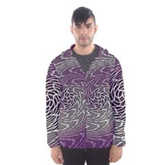 Graphic Abstract Lines Wave Art Hooded Wind Breaker (men)