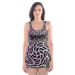 Graphic Abstract Lines Wave Art Skater Dress Swimsuit