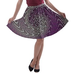 Graphic Abstract Lines Wave Art A Line Skater Skirt
