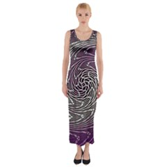 Graphic Abstract Lines Wave Art Fitted Maxi Dress