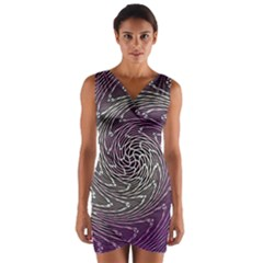 Graphic Abstract Lines Wave Art Wrap Front Bodycon Dress
