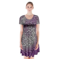 Graphic Abstract Lines Wave Art Short Sleeve V Neck Flare Dress