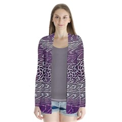 Graphic Abstract Lines Wave Art Drape Collar Cardigan
