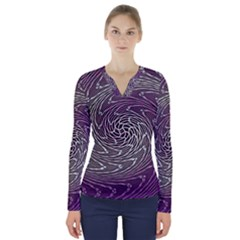 Graphic Abstract Lines Wave Art V Neck Long Sleeve Top