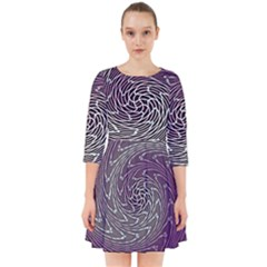 Graphic Abstract Lines Wave Art Smock Dress
